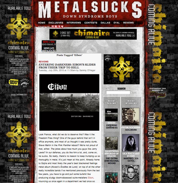 Entering Darkness album reviewed at MetalSucks