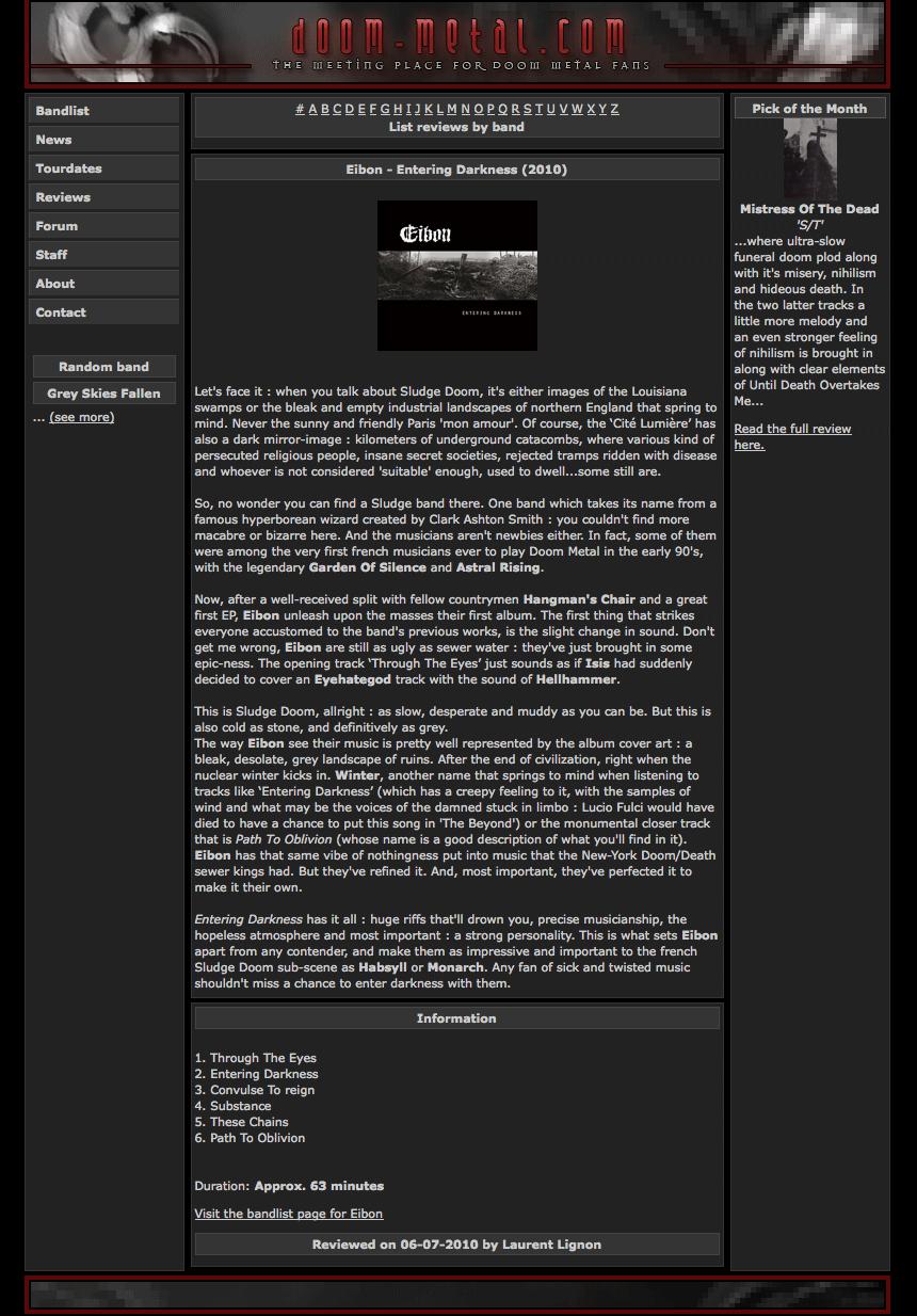 'Entering Darkness' album reviewed at Doom-metal.com