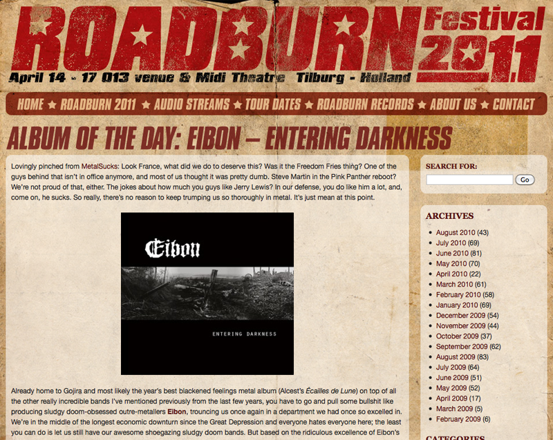 'Entering Darkness' album of the day @Roadburn.com