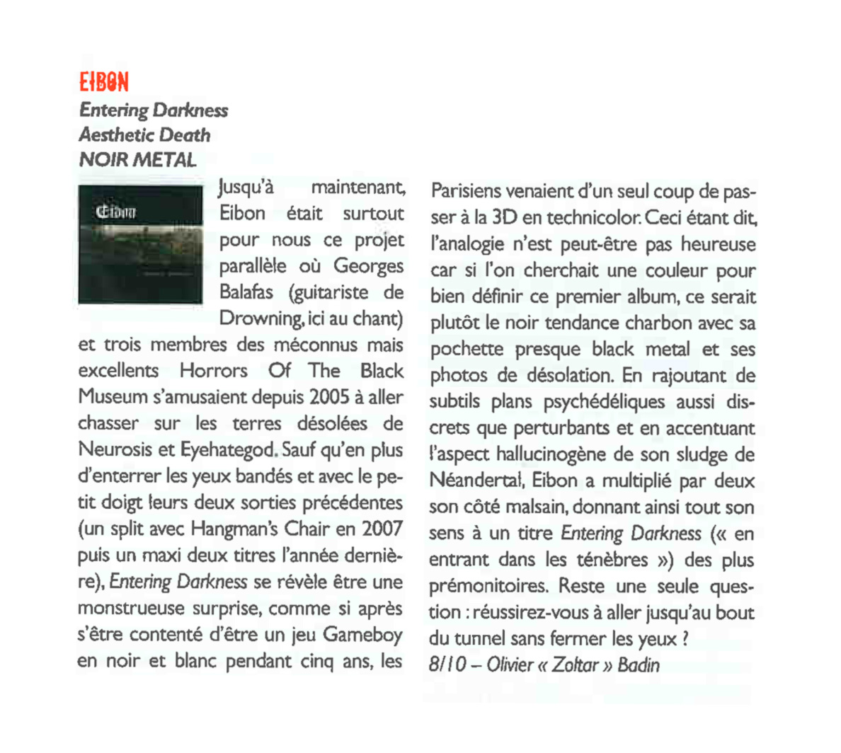 Eibon's  Entering Darkness reviewed at Hard-Rock magazine [fr]